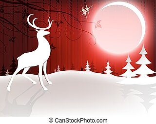 Christmas design with a deer and a bright moon