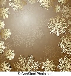 Christmas design with a set of gold color snowflakes, frame.