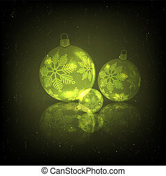 Christmas design with a set of yellow-colored glass balls.