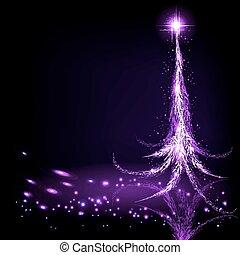 christmas design with abstract christmas tree purple