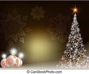 christmas design with balls and christmas tree