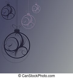 Christmas design with balls with abstract blue tint pattern.