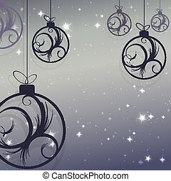 Christmas design with balls with an abstract blue-tinted pattern, snowflakes and glitter.