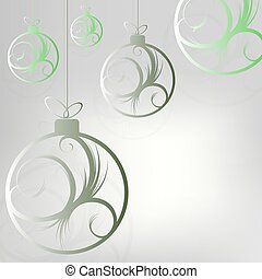 Christmas design with beautiful balls with abstract green shade pattern.