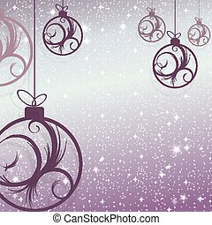 Christmas design with beautiful balls with an abstract pattern of purple hues, snowflakes and glitter.