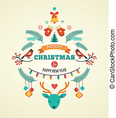 Christmas design with birds, elements, ribbons and deer -...