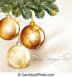 Christmas design with classic baubles hand on a fir tree...