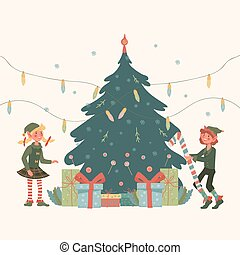 Christmas design with cute little elves near Xmas tree, flat vector illustration.