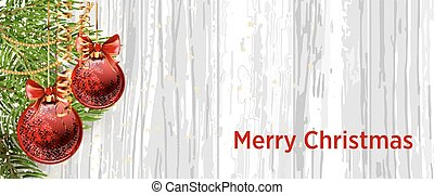 Christmas design with fir tree on wooden background. Web ...