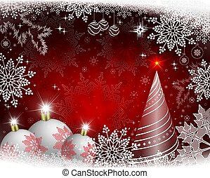 Christmas design with rays of light, white balls, abstract Christmas tree and gorgeous snowflakes.