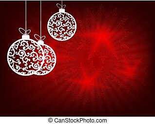 Christmas design with rays of light, white retro-colored balls and gorgeous snowflakes.