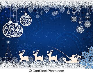 Christmas design with Santa Claus deer and balls in retro style.