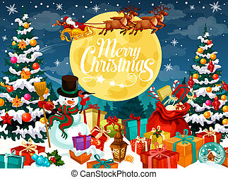 Merry Christmas poster with Santa Claus in harness with deers and snowman near Xmas tree. Gift boxes in sack and on snow, cane candy and full moon. Fir with cones, holly plant and lantern vector