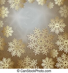 Christmas design with slender snowflakes of gold color, frame.