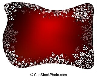 Christmas design with white frame, glitter and graceful white snowflakes.