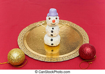 Christmas dessert in shape of snowman