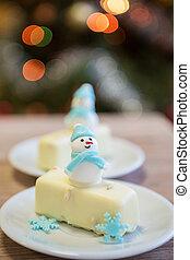 Christmas dessert with snowman