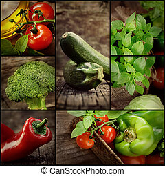 Christmas dinner collage - Organic Food concept. Fresh...