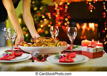 Christmas dinner - dinner with chicken near Christmas tree