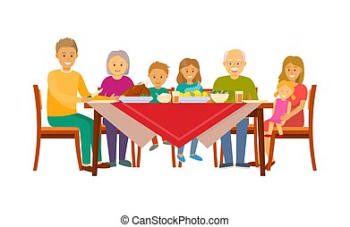 Christmas Dinner of Big Family Sitting by Table