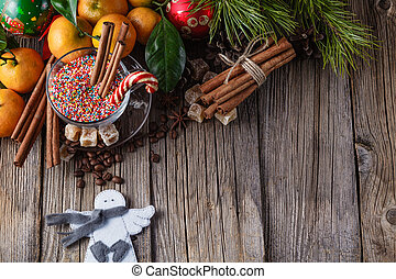 Christmas dinner on rustic table