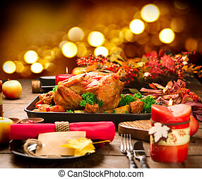 Christmas Dinner. Roasted turkey garnished with potato,...