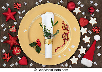 Christmas Dinner Table Setting - Christmas table place...
