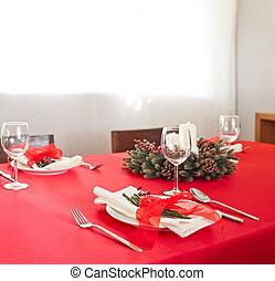 Christmas dinner table setup