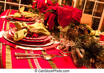 Christmas Dinner Table - Festive holiday table with plates,...
