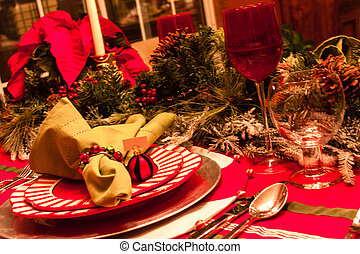 Christmas Dinner Table - Close up of Christmas holiday place...