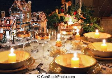 Christmas dinner table with christmas mood - Christmas...