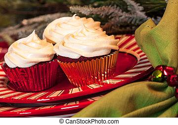 Christmas Dinner Table with Dessert