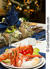 Christmas dinner table with lobster