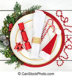 Christmas Dinner Time - Christmas dinner table setting with...