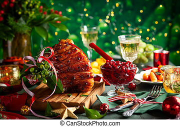 Christmas dinner with side dishes - Glazed roast ham with ...