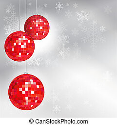 Christmas disco balls with snowflake background and space...