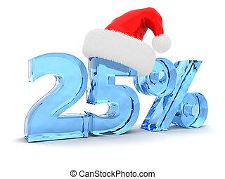 Christmas discount - 3d illustration of 25 percent discount ...