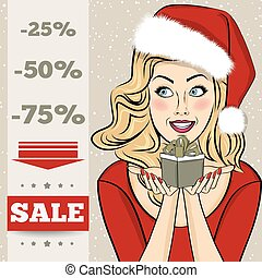Christmas discount banner with sexy blonde Santa, vector...