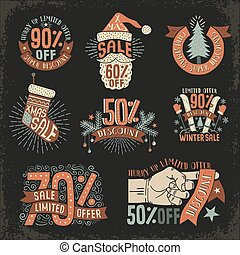 Christmas discount New Year sale - vintage retro posters,...