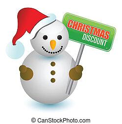 christmas discount snowman sign illustration design over...