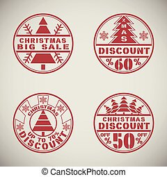 Christmas discount - Set of Christmas discount offer round...