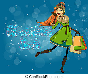 Girl with shopping bags at christmas discounts vector illustration
