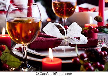 Christmas dishware on the table - Christmas dishware on the...