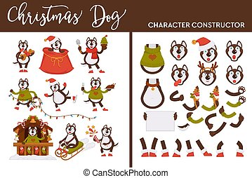 Christmas dog character constructor canine on winter holiday
