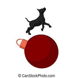 Christmas Dog Illustration - Black puppy dog on a christmas...