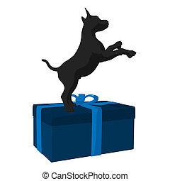 Christmas Dog Illustration - Black puppy dog on a gift box...