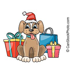Christmas Dog in Red Santa Hat with Gift Boxes, Presents. Character Poopy