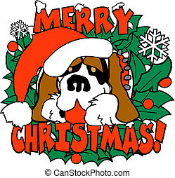 Christmas Dog St. Bernard Clip Art - Christmas dog St....