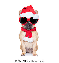 christmas dog - Santa claus christmas fawn bulldog dog...