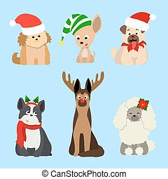 Christmas dogs set.